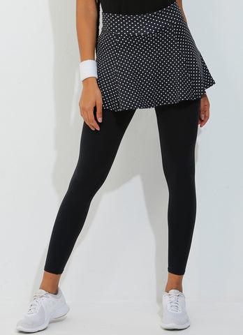 Skirted Legging (Black Polka Dot/Blk)