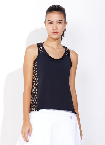 Net Tank (Black/Gold Polka Dot)