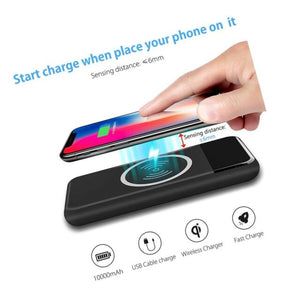 QI LED WIRELESS CHARGER WITH POWER BANK