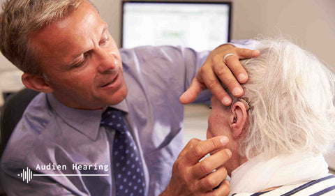 Healthcare professional performing Hearing Exam