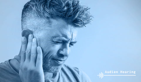 Imagine of man experiencing tinnitus related pain