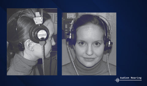 Image of woman getting bone conduction testing