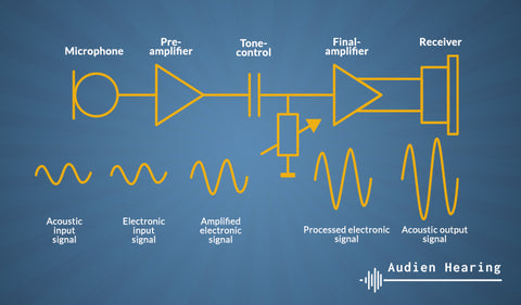 Schematic of the technology used in analog hearing aids