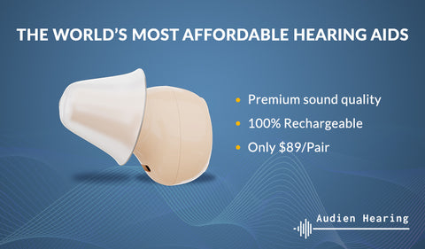 Infographic of the worlds most affordable hearing aid from Audien Hearing