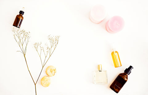 Flat lay for beauty blog, organic oils, cosmetics