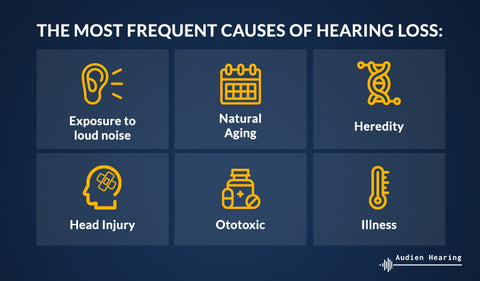 Infographic showing the most frequent causes of hearing loss