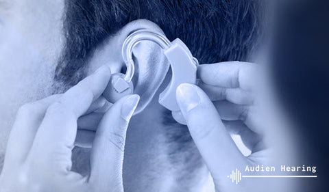 Image of hearing aid used for hearing loss symptoms