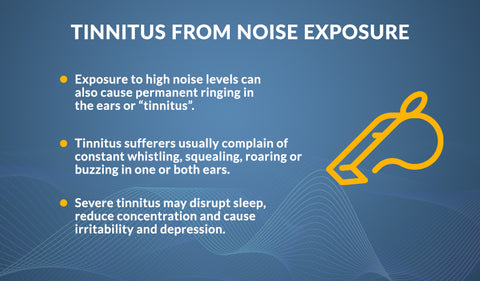 Infographic detailing the link between tinnitus and noise exposure