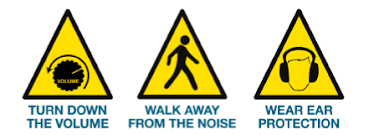 Caution signs saying how to prevent hearing loss
