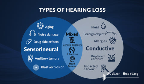 Venn diagram showing different types of hearing loss