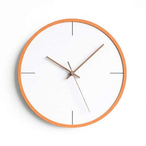 Horloge Murale Design Blanche et orange