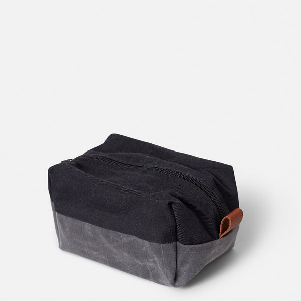 Dopp Kit - Waxed Denim + Gridwax