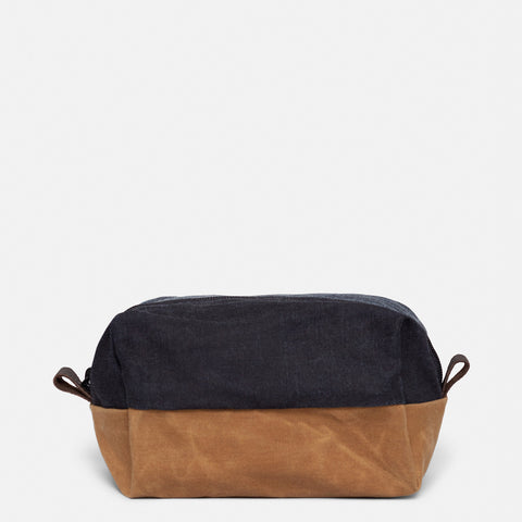 Dopp Kit - Waxed Denim + Havana