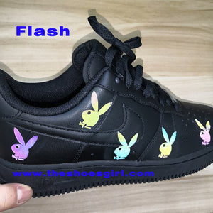 Colorful Rainbow Reflecive Playboy Bunny Iron on Patches for Custom Air Force 1's or Vans