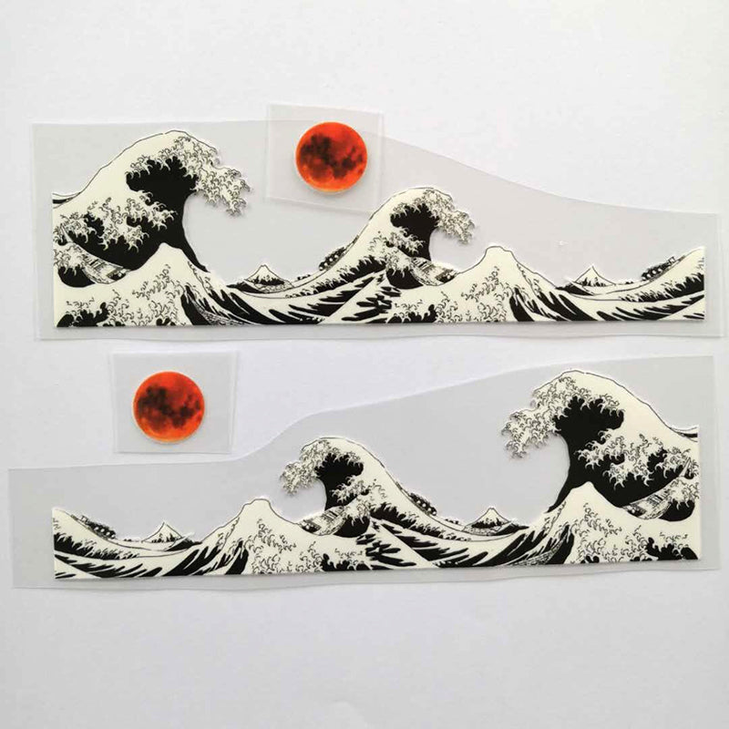 Black and White Kanagawa Wave Patches for Custom Air Force 1 or Vans Tsunami Patches for Shoes Decal