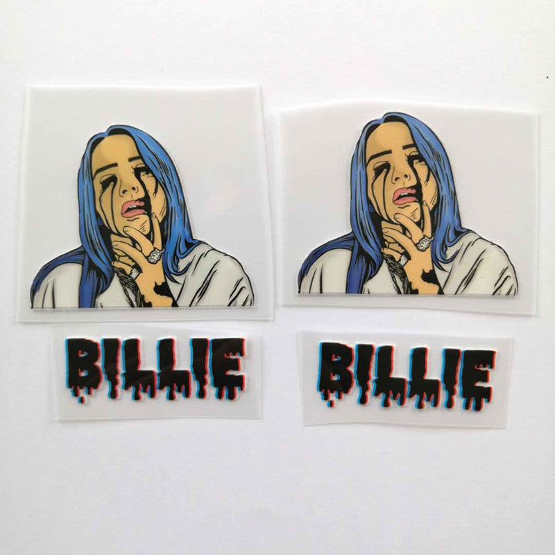 Billie Eilish Iron On Patches For Custom Air Force 1, Perfect Stickers For Custom Sneakers/Vans/AF1 Billie Eilish Theme, Best Gift For Her