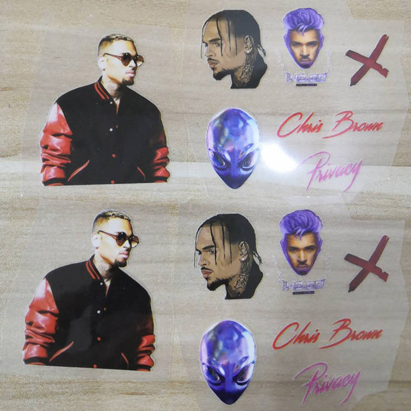 Chris Brown Heat Transfer Stickers For Custom Air Force 1 Chris Brown Theme, Easy Apply Chris Brown Iron On Stickers For Shoes Decal
