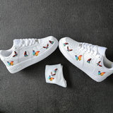 custom sneaker with colorful butterflies