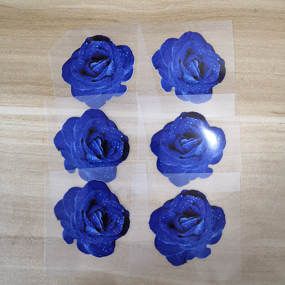 Custom Vans Blue Rose Stickers, Easy Use Durable Iron On Rose Patches, Best For DIY Floral Shoes Perfect Gift for Her