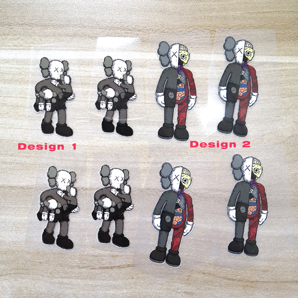 Kaws Iron on Patches For Custom Sneaker, Perfect Set For Custom Sneakers/Vans/AF1 Kaws Theme Best Gift