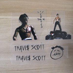 Travis Scott Cactus Jack Heat Transfer Stickers For Shoes Decal, 'Rodeo' Action Figures Iron on Stickers for Shoes