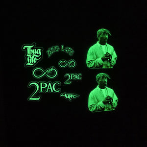 Tupac Glow In Dark Iron on Stickers For DIY/ Custom Air Force 1/Vans