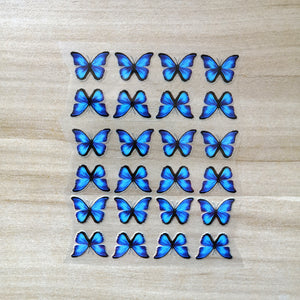 Tiny Blue Butterfly Iron On Stickers For Kids Shoes-24 Per Set