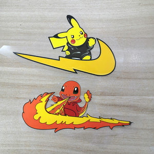 Pokemon Pikachu And Charmander Iron On Patches for DIY / Custom Air Force 1s