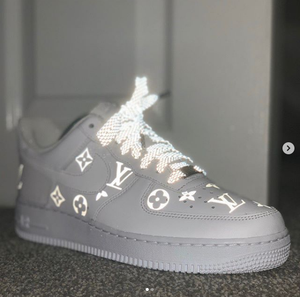 Larger 3M Reflective Louis Vuitton Iron on Patches For Custom Air Force 1 LV for Man or Women