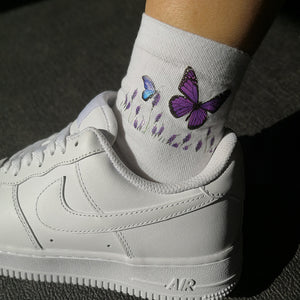 Romantic Lavender And Purple Butterfly Socks Unisex 3 Pairs Per Set