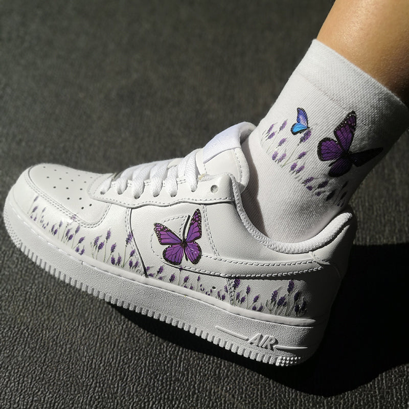 Custom Sneaker AF1 With Romantic lavender and purple butterfly And Matching Socks