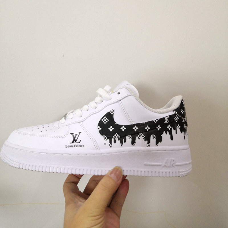 Rose Red Drip LV Patches for Custom Air Force 1, Easy Iron On Black Drip LV Stickers For DIY or Custom Shoes