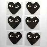 Mix of 3 Black Comme des Garçons Patches For Custom Air Force 1, Mix Heart Patches For Shoes Decal