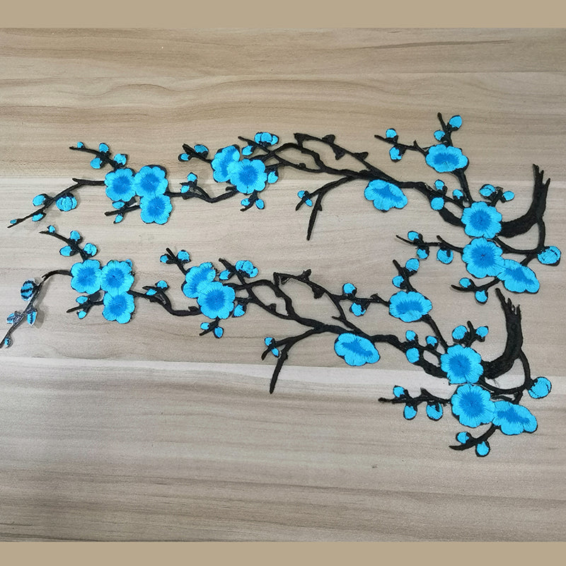 Blue Embroidery Blossom Iron On Patches Blossom Floral Patches for Shoes Decal