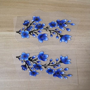 Blue Cherry Blossom Iron on Sticker for Custom Air Force 1 or Vans, Blue Cherry Blossom Floral Patches for Shoes Decal