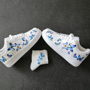 Vavirous Sizes Blue Butterfly Patches Iron On Patches for Custom Sneaker