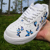 Custom Nike Air Force 1s With Various Blue Butterflies