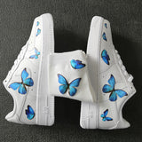 Custom Sneaker Nike Air Force 1s With Various Blue Butterflies