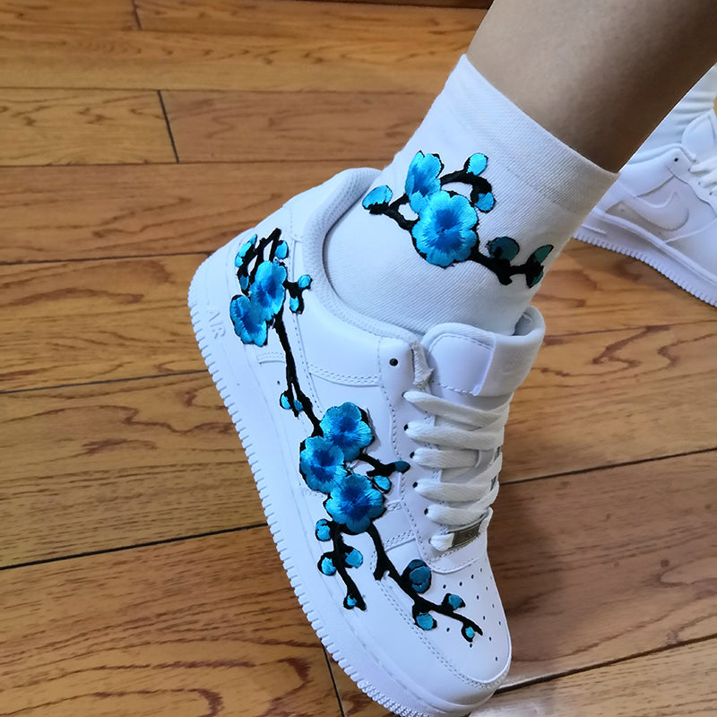 Custom Sneaker AF1 Blue Embroidery Blossom