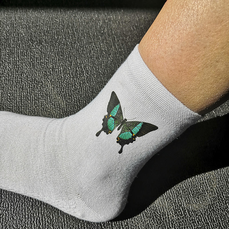 Green and Black Butterfly Socks Unisex 3 Pairs