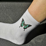 Green and Black Butterfly Socks Unisex