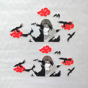 Uchiha Itachi With Crows And Red Cloud Iron On Patches For Custom Shoes