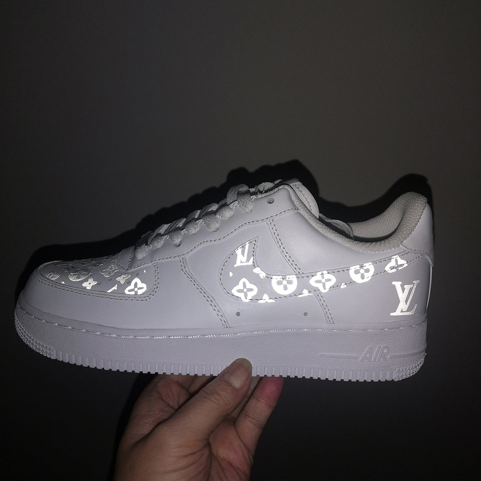 3M Reflective Louis Vuitton Iron on Patches For Custom Air Force 1 LV for Man or Women