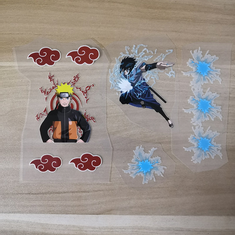 Naruto Sasuke Iron on Stickers for Custom Air Force 1 Naruto Theme, Naruto And Sasuke Heat Transfer Stickers For Shoes Decal