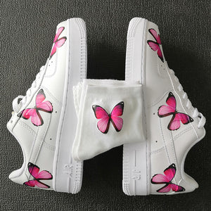 Custom AF1 Pink Butterflies And 1 Pair Matching Pink Butterfly Socks