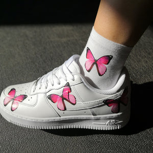 Pink Butterfly Socks Matching the Shoes