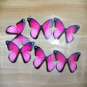 Easy Use Iron On Pink Butterfly Patches, Heat Transfer Pink Butterfly For Shoes Decal