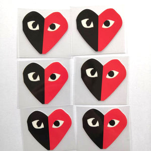 Black Comme des Garçons Patches For Custom Air Force 1, Black Heart Patches For Shoes Decal