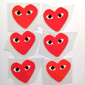 Half Black and Red CDG Patches For Custom Air Force 1, Half Red And Black Heart Patches For Shoes Decal