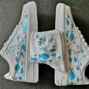 Ocean Theme Custom AF1 Custom Sneaker With Fishes Under the Water